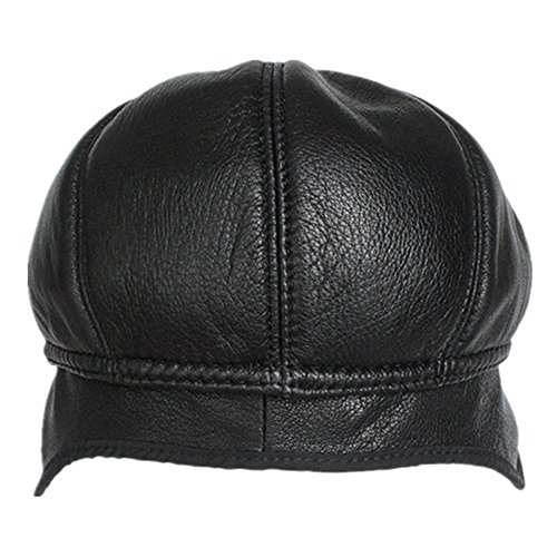 Kenmont Hiver hommes de chèvre peau cuir véritable cache-oreilles Cabbie gavroche Visor Hat Ivy Cap