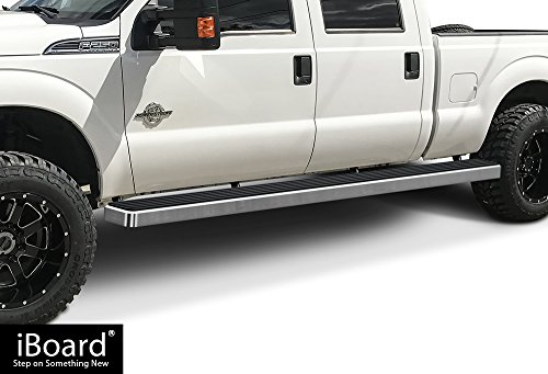 APS Wheel to Wheel (W2W) iBoard (Silver 6 inches WTW) Running Boards | Nerf Bars | Side Steps | Step Rails For 1999-2016 Ford F250/F350 Super Duty Crew Cab Pickup 5.5ft Short Bed ()