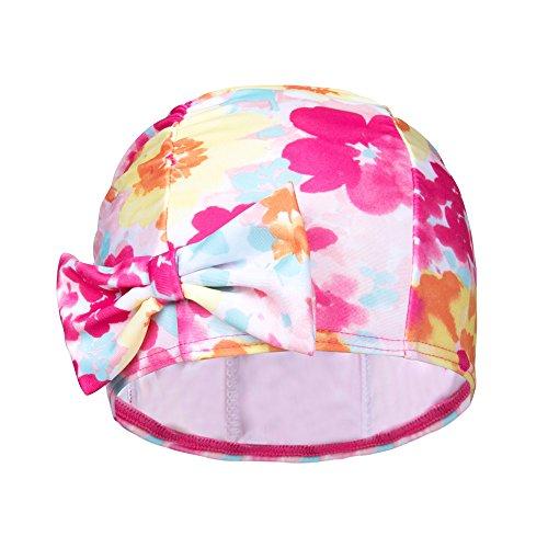 ZDHGLOBAL Breathable Lycra Sun Protective Swimming Cap for Girls Junior teeanger Hawaiian Floral Print