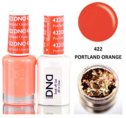 - Daisy DND SUMMER COLLECTION Soak Off GEL POLISH DUO, All In One Gel Lacquer + Matching Nail Polish Color for Nails (with bonus side Glitter) Made in USA (Portland Orange (422))