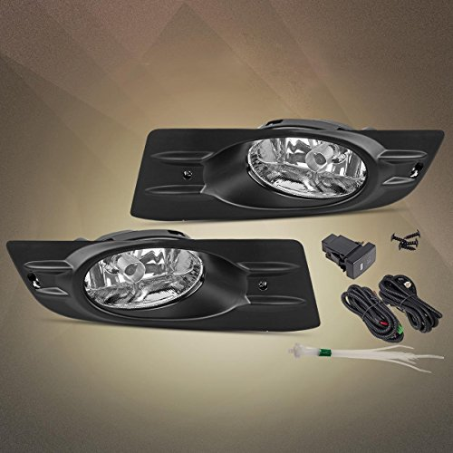 Partsam for 2006 2007 Honda Accord Coupe 2-Door Clear Bulb Bumper Fog Light Assembly Lamp + Harness + Switch Left + Right (07 Honda Accord Coupe)