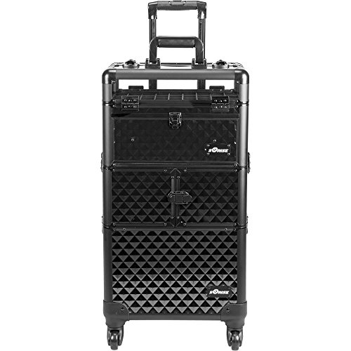 Sunrise-2-in-1-I31064-3-Tiers-Accordion-Trays-4-Wheels-Professional-Rolling-Aluminum-Cosmetic-Makeup-Case-and-Nail-Case-with-Clear-Panel-Foundation-Holder-and-Dividers-Black-Diamond