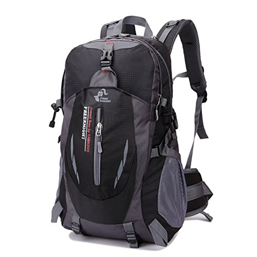 Free Knight 8607 35L Camping Hiking Backpack Outdoor Sports Travel Water Repellent Nylon Backpack (Black)