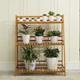 Bamboo Flower Rack, Multi-Tier, Suspended, Balcony Flower Pot Rack,Multifunctional Plant Stands ( Size : 60cm )