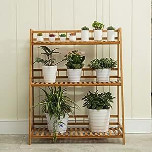 Flor estante Woody balcón maceta Planta de se puede montar varias capas estantes de rack (tres tamaños opcional)