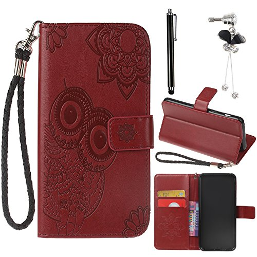 Cute Phone Case for Samsung Galaxy S9 Plus (6.2 Inches) + [Detachable Hand Strap], Sunroyal PU Leather Shell Owl Flower Embossed Cover Soft Bumper Hybrid Shockproof Phone Cover - Reddish Brown