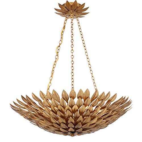 Crystorama 517-GA Leaf, Flower, Fruit Six Light Chandelier from Broche collection in Gold, Champ, Gld Leaffinish,