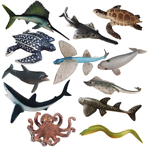 CatchStar Ocean Sea Animal Bath Toys Realistic Sea Life Ocean Creatures Figure Durable Waterproof Figurines Toys Gift for Kids 12 Piece