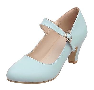 UH Damen High Heels Mary Jane Pumps mit Blockabsatz und Riemchen 5cm Absatz Kleid Schuhe