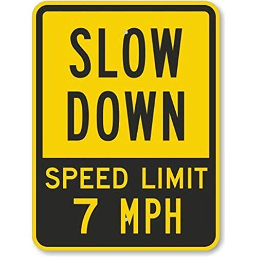 YING XUE Slow Down - Speed Limit 7 MPH, Fluorescent Yellow Diamond Grade Reflective Aluminum Sign, 8