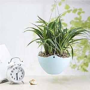 sylive macetas, cadena de colgar flores maceta jarrón cesta contenedor jardín Pot