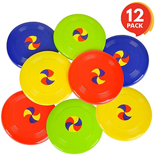 ArtCreativity 8 Inch Flying Disc Saucers - Set of 12 - Flyer Disks for Kids and Adults - Durable Plastic - Fun Summer Outdoor Activity Game for Boys, Girls, Toddlers, Camping - Birthday Party Favors