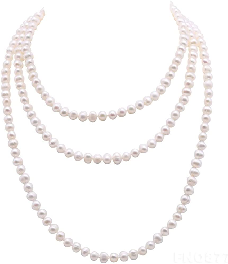 """Natural Pearl 46/"""" long Round Baroque 9-10mm White Freshwater Pearl Necklace"""
