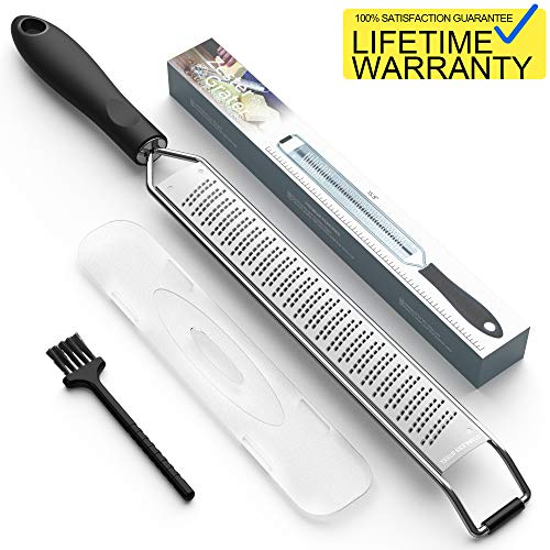 (Lemon Zester & Cheese Grater Stainless Sharp, Kitchen Tool for Ginger, Garlic, Nutmeg, Chocolate, Vegetables, Fruits - Protect Cover & Free Clean Brush, Dishwasher Safe, Black)