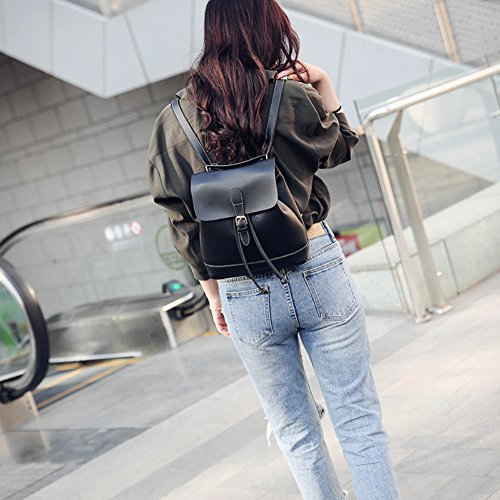 Backpacks Black Rucksack College Travel Afco Bag Leather Student Shoulder Korean Small Womens qFPBPtvn