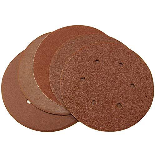 Maslin 125pcs 6 inch 150mm Sand paper Sanding Disc Hook Loop Grit 60 80 120 180 240 - (Grit: grit 60)