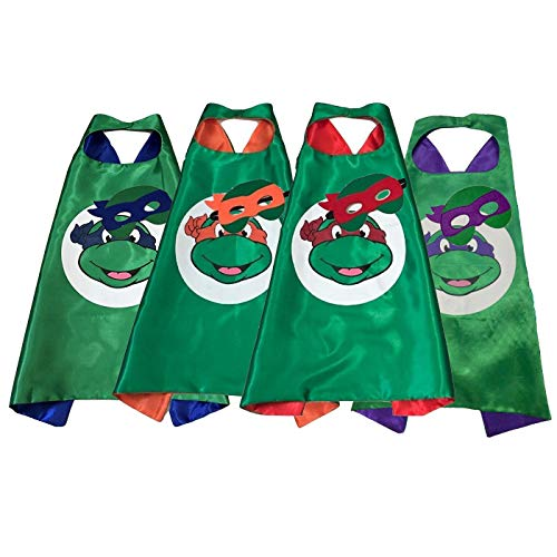 Laudmu Kids Superhero Capes and Masks Costume for Ninja Turtle Birthday -