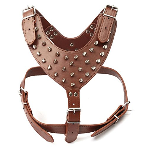 1PCS Size L Brown Spiked Studded Dog Pet Harness PU Leather Adjustable Strip Walking Collar Vest Leash Lead Set For For Pitbull Mastiff
