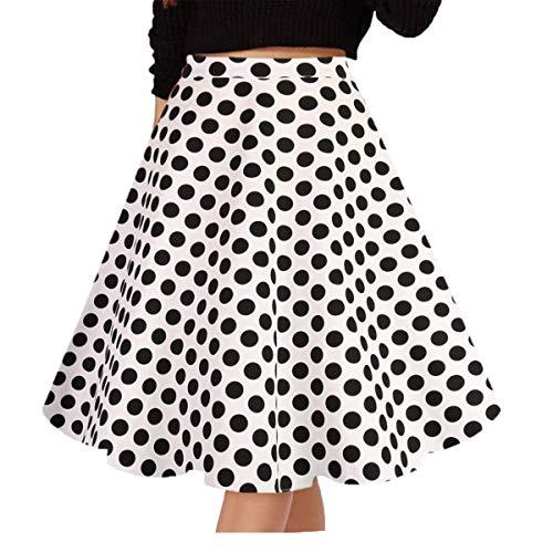 Satin Vintage Skirt - Musever Women's Pleated Vintage Skirts Floral Print Casual Midi Skirt A-White-Polka Dot XXL