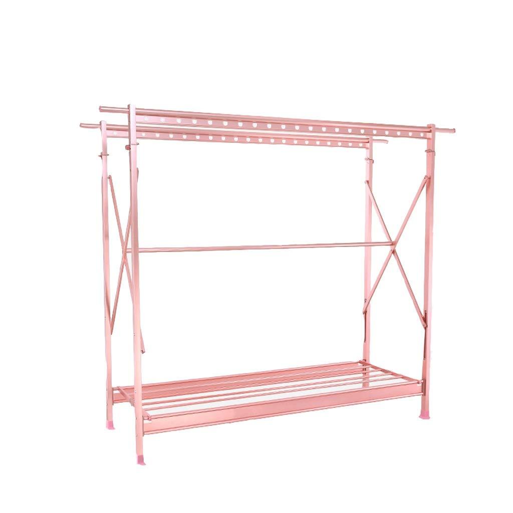 乾燥ラックアルミ乾燥ラック折りたたみ錆びないハンガーダブルロッド格納式クールハンガーホームモバイルバルコニーの乾燥ラック (色 : ピンク) B07S9B1P7C ピンク