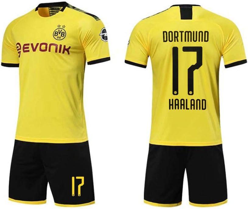 PAOFU-2019-2020 Borussia Dortmund Erling Braut Haaland # 17 Fan Football Trikotsets F/ür M/änner Und Jungen