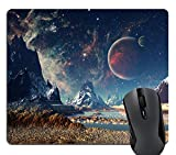 Knseva Planet with Earth Moon and Mountains Gaming Mouse Pad Custom Awesome Space Planets Mouse Pads for Computers Laptop