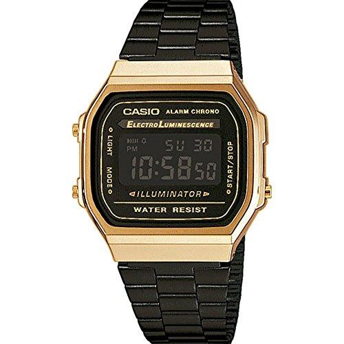 Casio A168WEGB-1BEF Unisex Collection Black Steel Bracelet Watch
