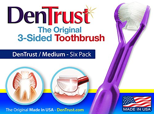 DenTrust Surround Toothbrush : 6 Pack : Medium : All in One Super Clean : Teeth and gums