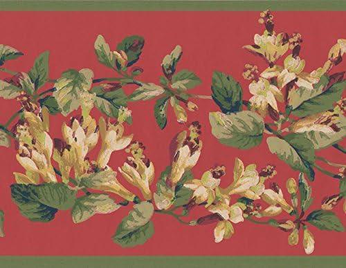 """白ガーネットレッドフラワーオンヴァインクリムゾン花の壁紙ボーダーレトロなデザインロール15 'x 6.87 """""""