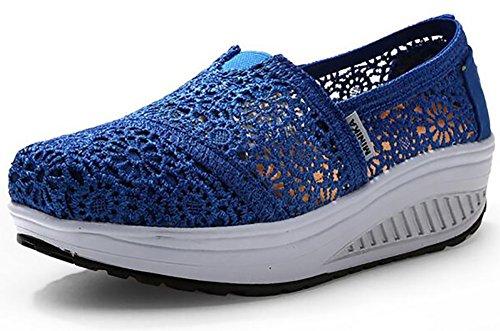Odema Donna Crochet Slip-on Toning Walking Platform Sneakers Blu Royal