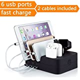 Marstree 6 Port USB Charging Station Multi Device USB Charging Dock Station HUB Desktop Charging Stand Organizer Compatible for iPhone ipad Airpods iwatch Kindle Tablet Multiple Devices
