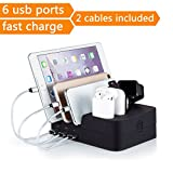 6 Port Universal Watch Smartphone USB Charging Station Compatible for Apple Watch and iphone, Airpods and all Android Cell Phones/Tablets, Detachable Usb Desktop Quick Charge Station Organizer