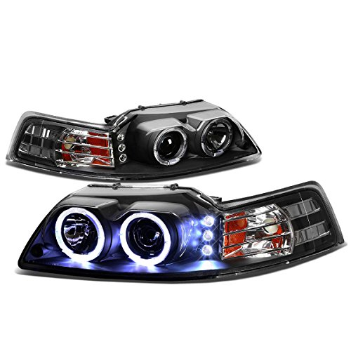 For Ford Mustang Black Housing Amber Corner SN-95 Dual Halo Projector+LED Headlight -