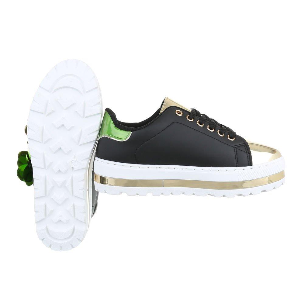 035342fabfd4 Sneakers Low Damen-Schuhe Sneakers Low Sneakers Schnürsenkel Freizeitschuhe  Schwarz, Gr 37, Mbz