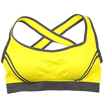 Dong Dian Women's Cross Back Seamless Wirefree Yoga Running Sports Bra Yellow L