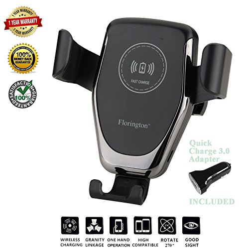 Florington Fast Qi Wireless Car Charger, Windshield/Air Vent 2-in-1 Mount Stand, 7.5W Apple iPhone X/8 Plus, 10W Samsung Galaxy S9/S9+/S8/S8+/S7, LG V30/V35/G7 Quick Charging Adapter by Florington