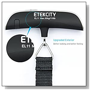 Etekcity Digital Hanging Luggage Scale, 110 Pounds, Rubber Paint, with Temperature Sensor and Tare Function, Portable Scale for Travel, Household and Gift, Silver, Battery Included (1 Pack)