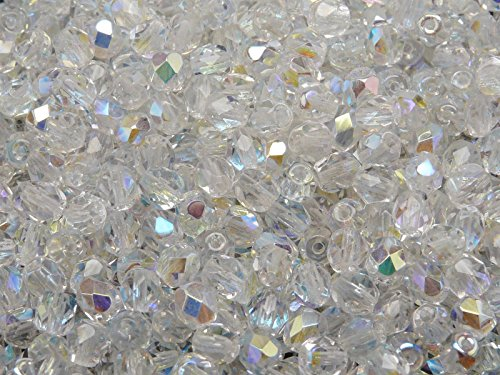 100 pcs Czech Fire-Polished Faceted Glass Beads Round 5mm Crystal - Faceted 100 Beads Czech Glass