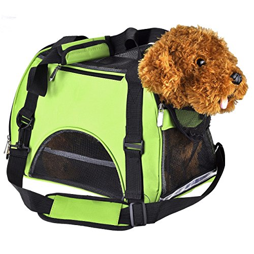 CozyCabin Pet Cat Dog Carrier Bag Comfort Airline Approved Pet Dog Travel Tote Purse Soft Sided for Hiking Bike Travel (S M&L)(L, Green)