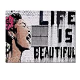 "Banksy-graffiti Art "" Life Is Beautiful"", Quality Canvas Poster Prints, Framed and Ready Wall Hanging, Image Wrap Border, Water Proof 32""x24"""