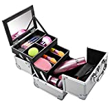 silverblack Fashine Mini Aluminum Portable Extendable Makeup Train Case Cosmetic Makeup Box with Mirror and Keys (Silver-Black)