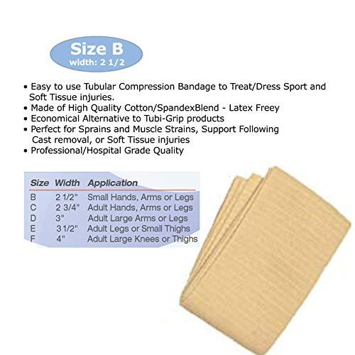 Tubular Bandage Latex Free - Kin-Grip Latex-Free Cotton Spandex Tubular Elastic Support Bandages by Kinship Comfort Brands   Size B (2.5