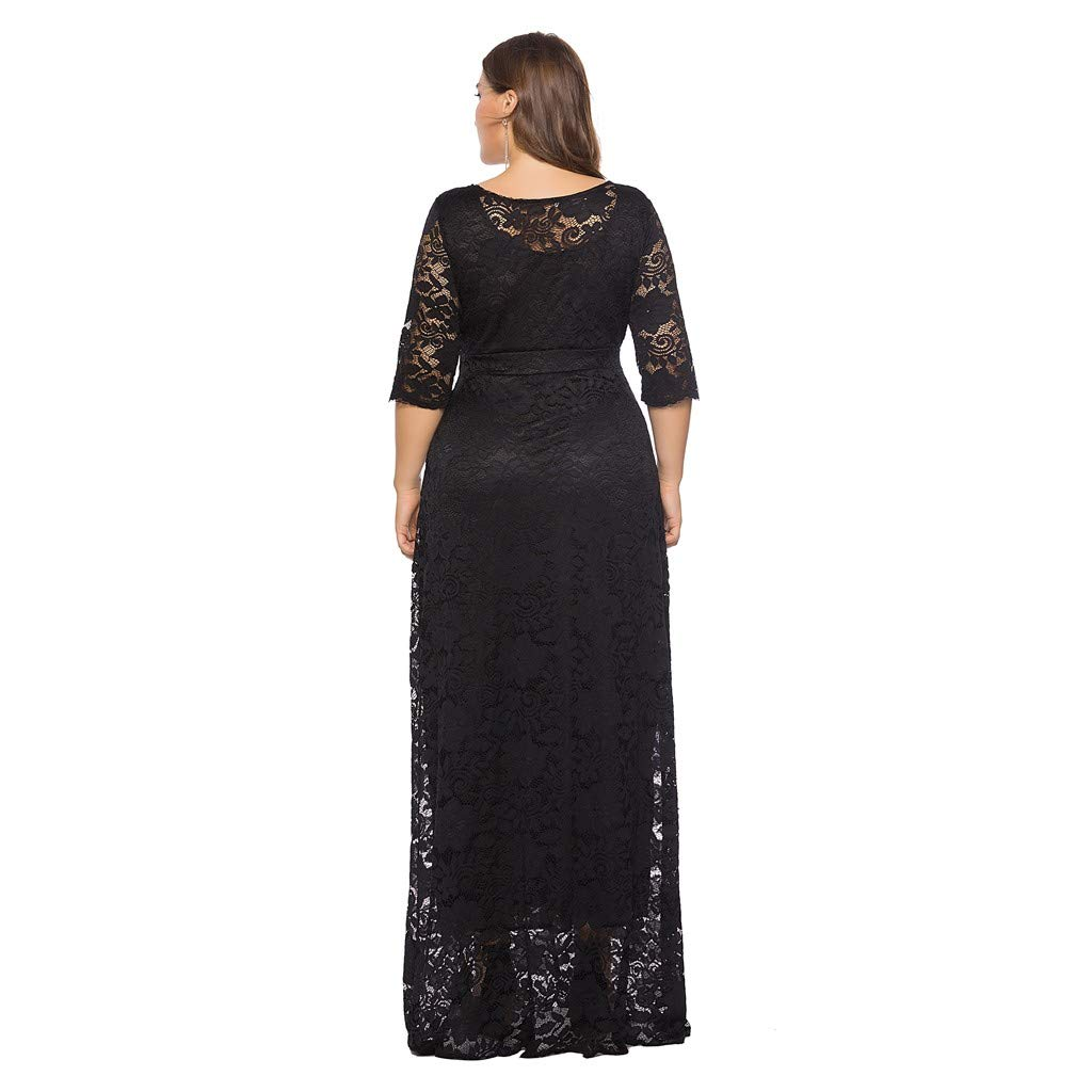 Plus Size Floral Lace Long Sleeve Cocktail Party Formal Dresses dumanfs Women Solid Oversize Vintage Maxi Dress