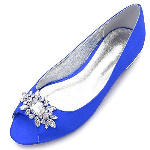 L@YC Frauen Hochzeit Schuhe F5049-30 Strass Hochzeit Brautschuhe Blue