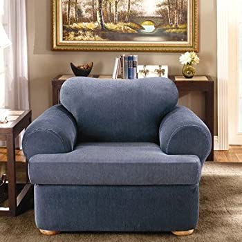 Delightful Sure Fit Stretch Stripe 2 Piece   Chair Slipcover   Navy (SF37731)