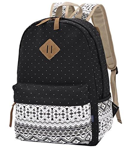 Backpack Mochilas Escolares,Mujer Mochila Escolar Lona Grande Bolsa Estilo Étnico Vendimia Casual Colegio Bolso Para Chicas Polka Punkt Schwarz
