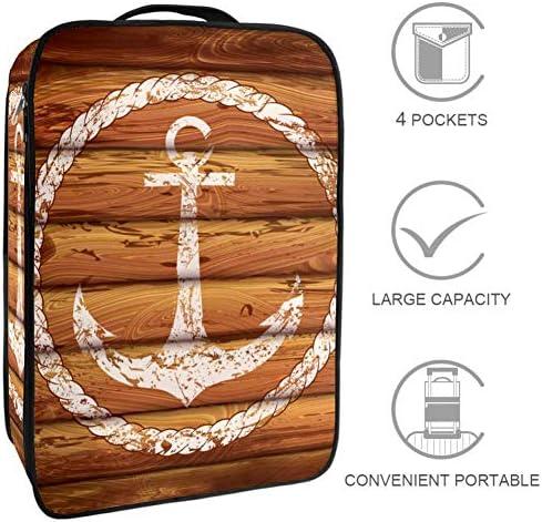 MYSTAGE シューズバッグ 靴箱 シューズケース アンカー 木製の板 シューズ袋 旅行収納ポーチ 二層式 靴入れ 小物収納 収納ケース アウドドア 出張 旅行