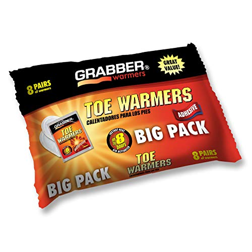 Grabber Heat Pads - Grabber Toe Warmers - Natural Odorless Air Activated Warmers - 8 Hours of Heat - 8 Pairs