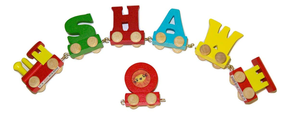Buchstabenzug Namens-Set 10 Buchstaben Namen kostenfreie Loc, Waggon /& Fotozug Fun World Toys/® Buchstaben Zug Holz Name