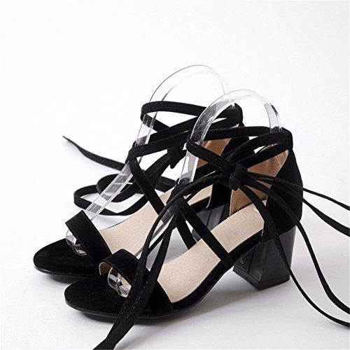 Fiesta de verano las tiras transversales con la mujer cool botas sandalias de tacón hueco black